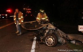 The Good-Will Fire Department responded to the area of 413 Little Britain Road for a motor vehicle accident with a car split in half and entrapment early in the morning on September 16, 2012. One person was medevac'd from the scene. Photos by Bob Root / 1st Responder Newspaper