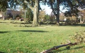 Minor wind damage to an uptown school yard.