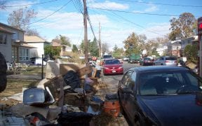 More piles of property put out for the garbage after being destroyed by flooding.