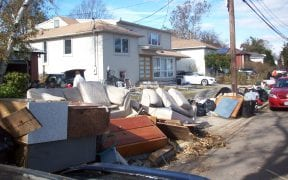 Many of the contents inside this house were thrown out due to flood damage.