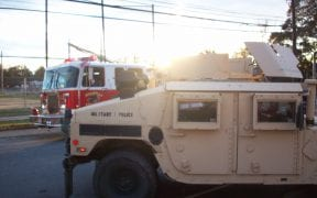 The National Guard patrolled the town at night time because power was out to most areas.