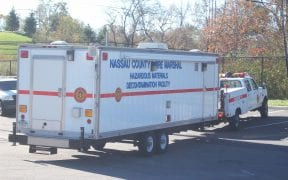 The Nassau County Fire Marshal Haz-Mat Decon Unit returning to their HQ from a call.