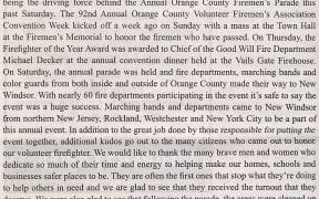 The Sentinel published a series of photos and stories on the county convention in it's 9/25/07 edition. Editor Kerry Butrick graciously wrote a powerful editorial piece commending firefighters in general, but more specifically Chief Decker for his bravery. A story and photos were also published on Chief Decker receiving the Firefighter of the Year award. Both newspaper clippings follow.