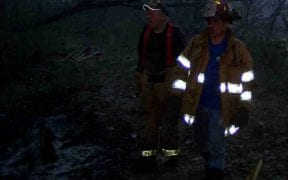 The Good-Will Fire Department battled a large brush fire for over four hours in a heavily wooded area off Route 17K just west of the city line on 4/20/06. Chief Michael Decker led the incident, calling for assistance from the Orange Lake, Winona Lake, City of Newburgh, Middlehope, Cronomer Valley, Coldenham and Vail's Gate Fire Departments. The New Windsor Fire Department stood by at Good-Will while Marlboro stood by for Middlehope. (Photos by Jim Bakun)