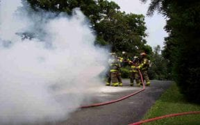 On 7/17/05, the Good-Will Fire Department left a drill to fight a working car fire on Coranas Lane near Old Little Britain Road. Foam was used to extinguish the blaze. (Photos by Jim Bakun / 1st Responder)