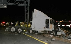 On February 19, 2005, the Good-Will Fire Department was assisted by the Orange County Haz-Mat Team at a tractor trailer rollover westbound on Interstate 84 during the early morning hours of February 19, 2005. Remarkably, there were no serious injuries. (Photos by Paul F. Harrington / 1st Responder)