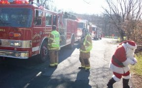 On Sunday, December 18th, 2011, the Good-Will Fire Department escorted Santa Claus around the fire district aboard our fleet of apparatus to visit with neighborhood children before Christmas. Along the way, Santa stopped to pass out hundreds of candy canes while stopping at local homes and stores. Firefighters then delivered Santa to the annual Christmas party at the Good-Will firehouse. (Photos and video by John Gaudioso, Jr.)