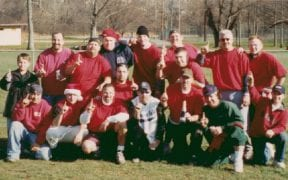 On Thanksgiving morning, 2003 Good-Will FD and Winona Lake FD participated in the annual Turkey Bowl football game. Good-Will won the game. (Photo by Mary Bartley)